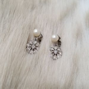 Vintage Clip On Dainty Faux Pearl Drop Earrings
